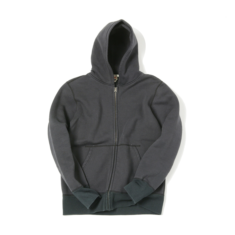 LOOPWHEEL ZIP PARKA - BLACK