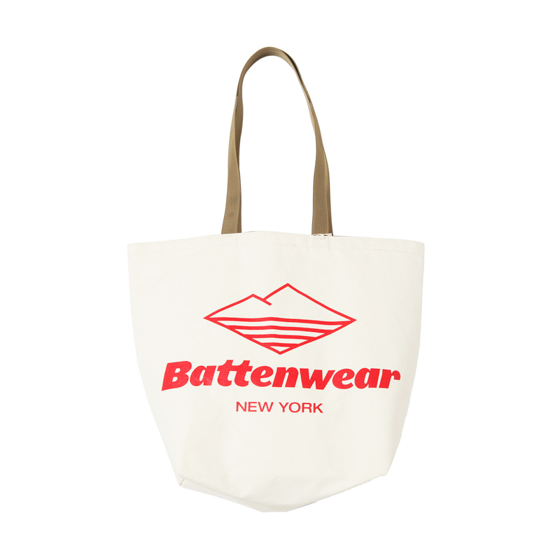 LOGO PRINT CANVAS TOTE - NATURAL
