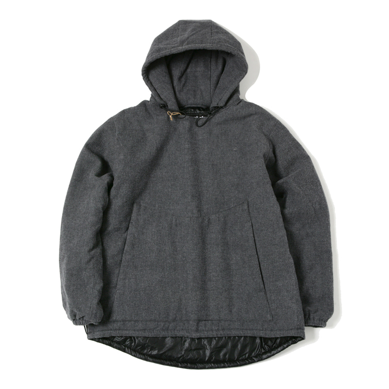 INSULATED HOODED PULLOVER - HERRINGBONE CHARCOAL