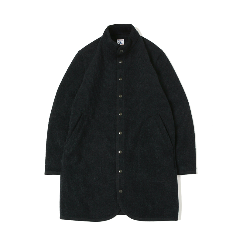 RACHEL LONG BOILED WOOL COAT - NAVY