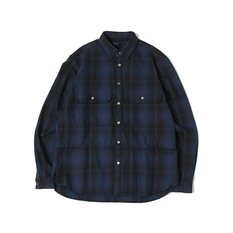 FLANNEL CHECK SHIRTS - NAVY