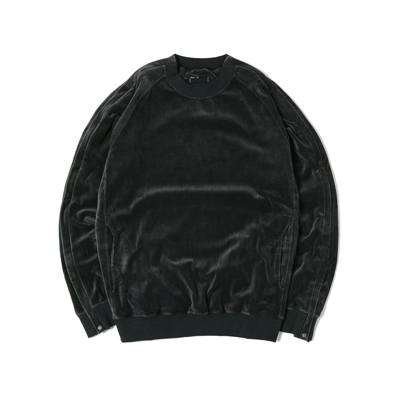 VELOUR POPPER SWEATSHIRTS - CHARCOAL