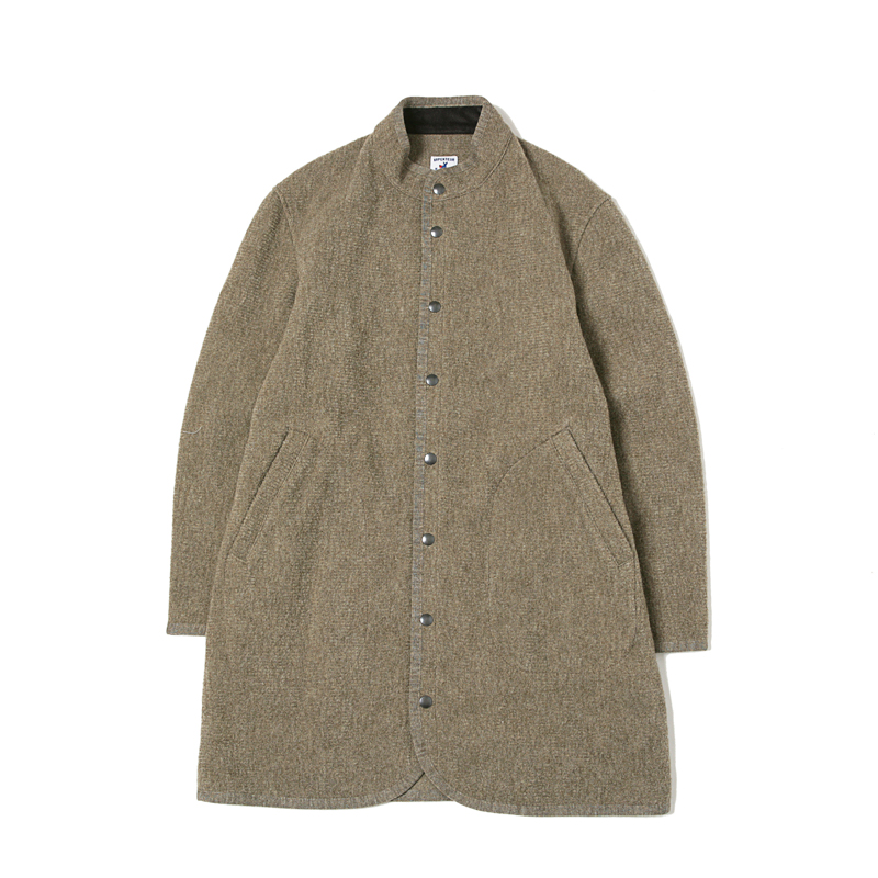 RACHEL LONG BOILED WOOL COAT - BEIGE