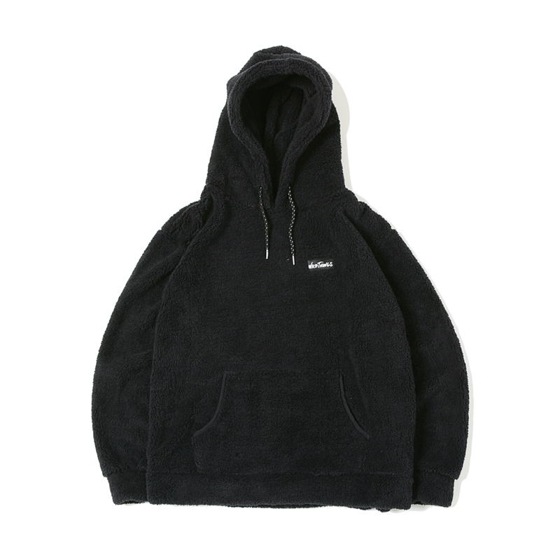 PILE FLEECE HOODED - BLACK