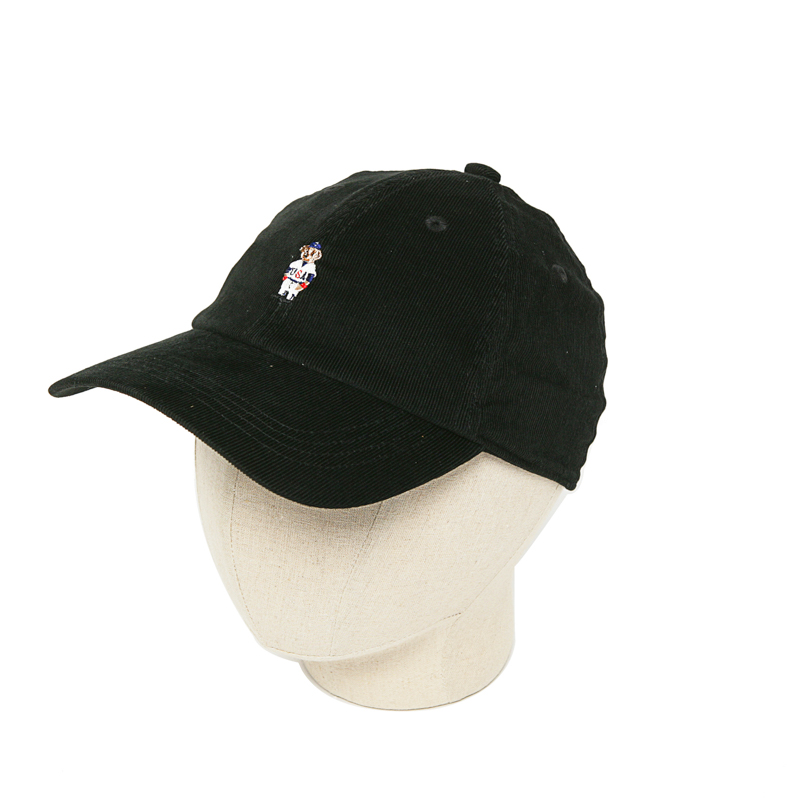 CORDUROY BEAR CAP - BLACK