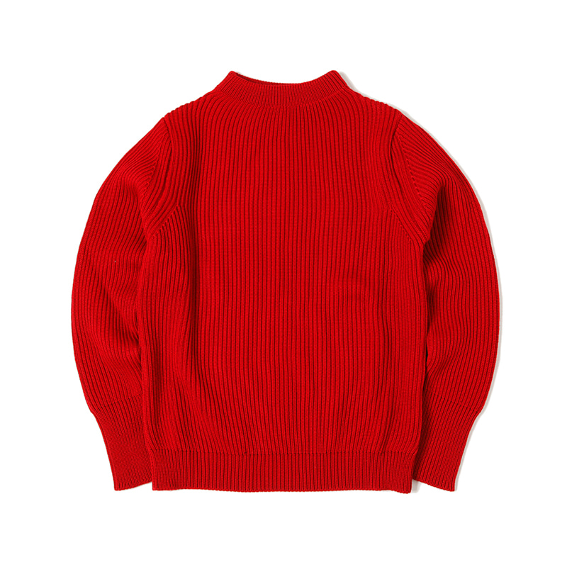NAVY CREWNECK SWEATER - RED