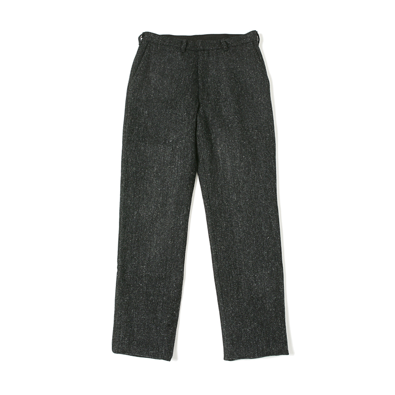 FLAT FRONT PANTS - HARRIS TWEED BLACK