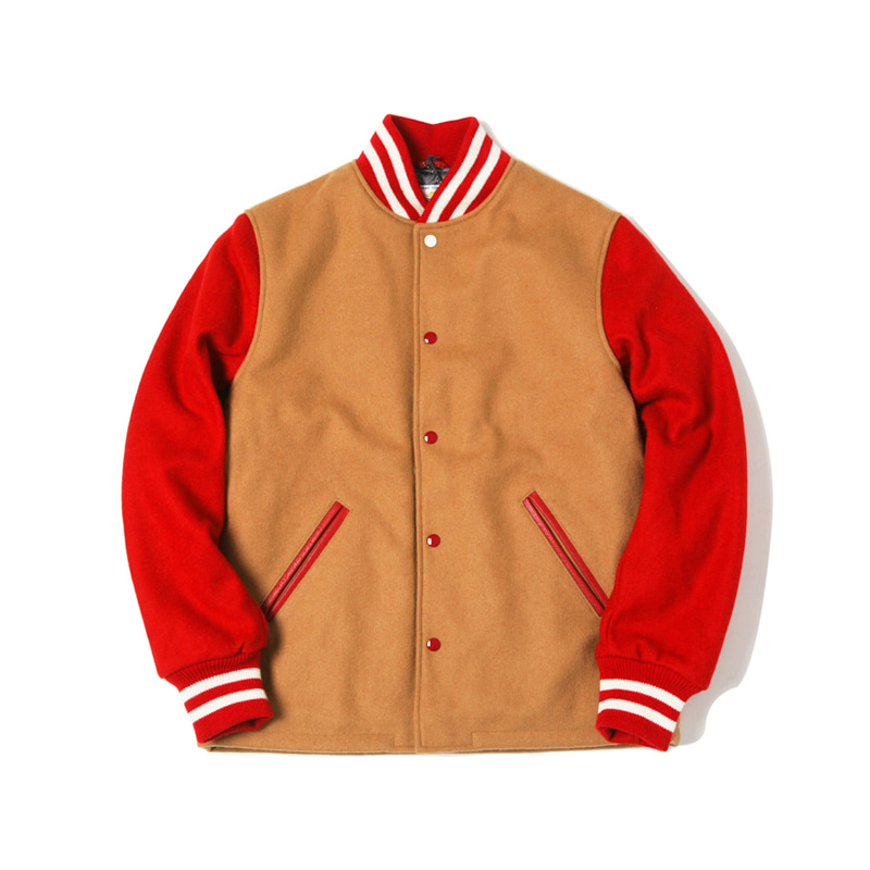 OPEN BOTTOM VARSITY JACKET - CAMEL/RED