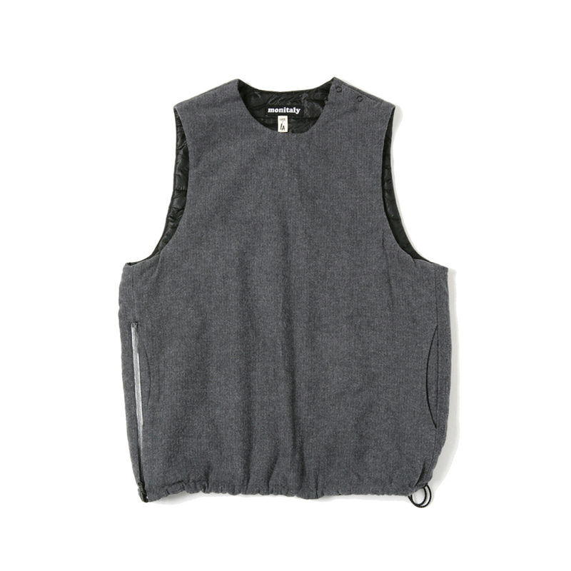 INSULATED VEST - HERRINGBONE CHARCOAL