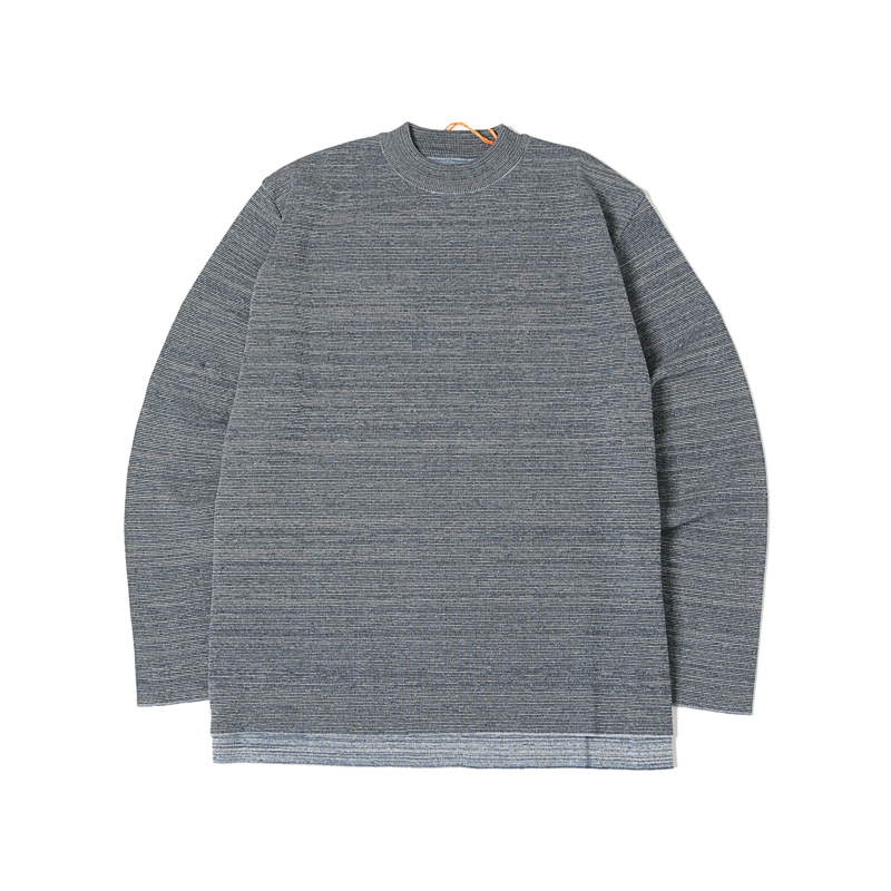 MOCK NECK COTTON KNIT TOP - NAVY