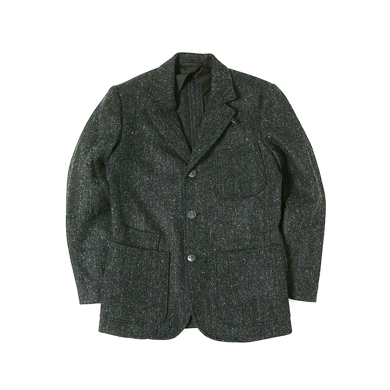 PATCH POCKET BLAZER - HARRIS TWEED BLACK