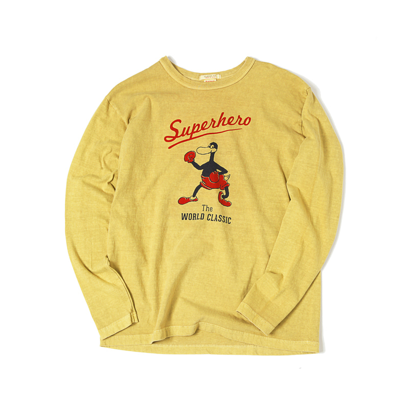 SUPERHERO PRINTED L/S TEE - YELLOW