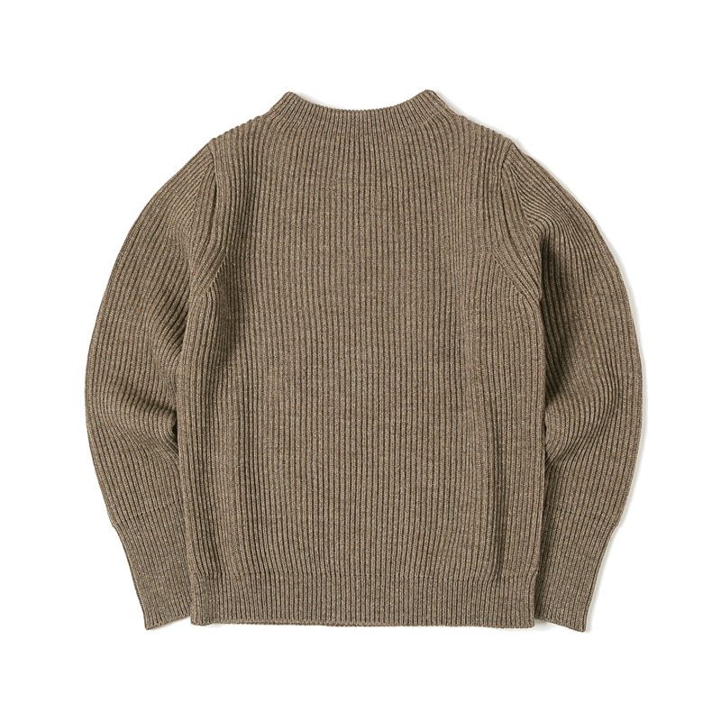 NAVY CREWNECK SWEATER - NATURAL TAUPE