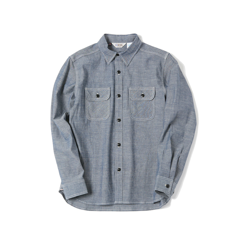 HEAVY CHAMBRAY WORK SHIRT - BLUE