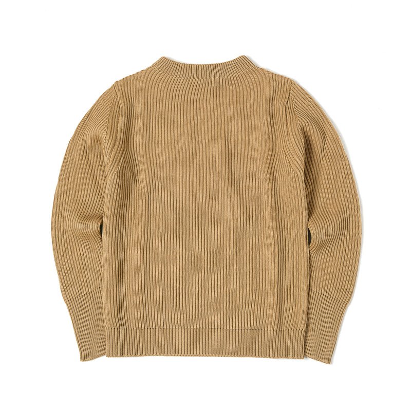 NAVY CREWNECK SWEATER - CAMEL