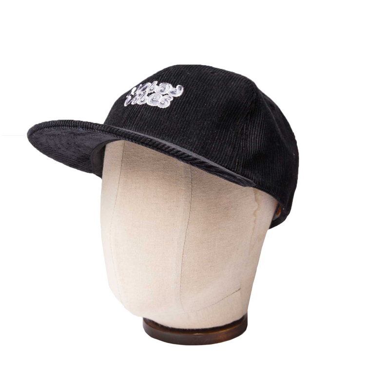 CORDUROY 6 PANNEL CAP - BLACK