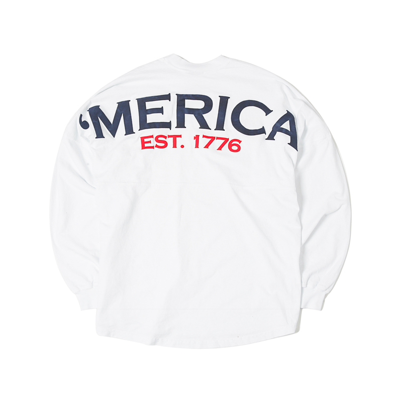 LS TEE AMERICA - WHITE/NAVY/RED