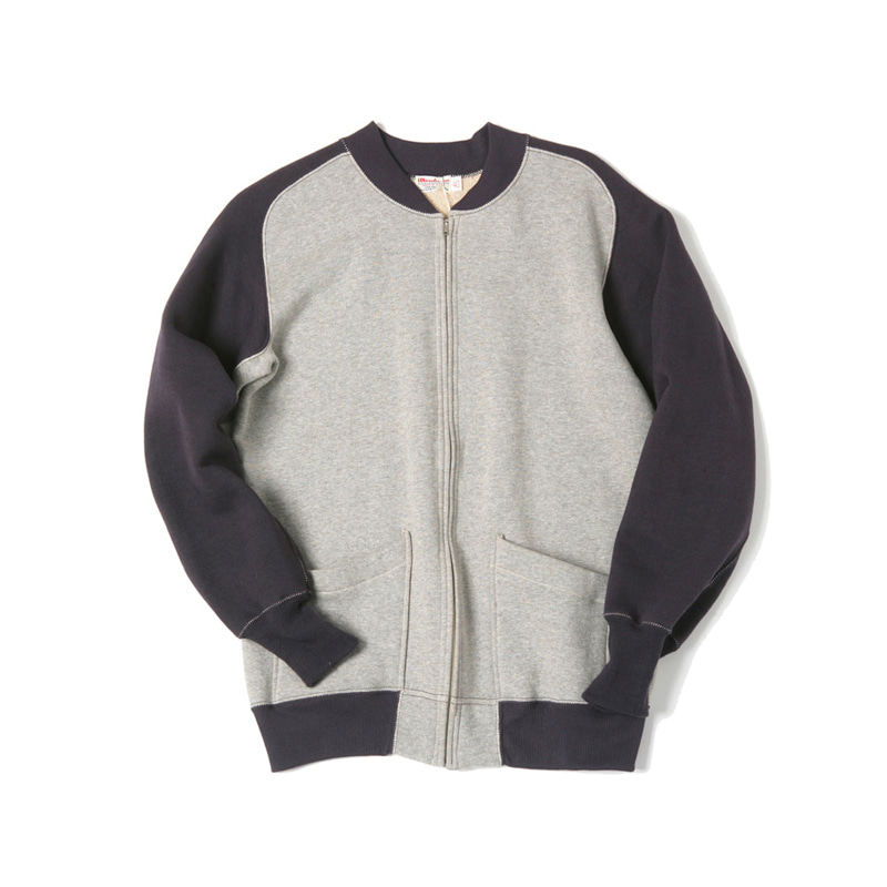 COMBI FULL ZIP SWEAT CARDIGAN - GRAY/NAVY