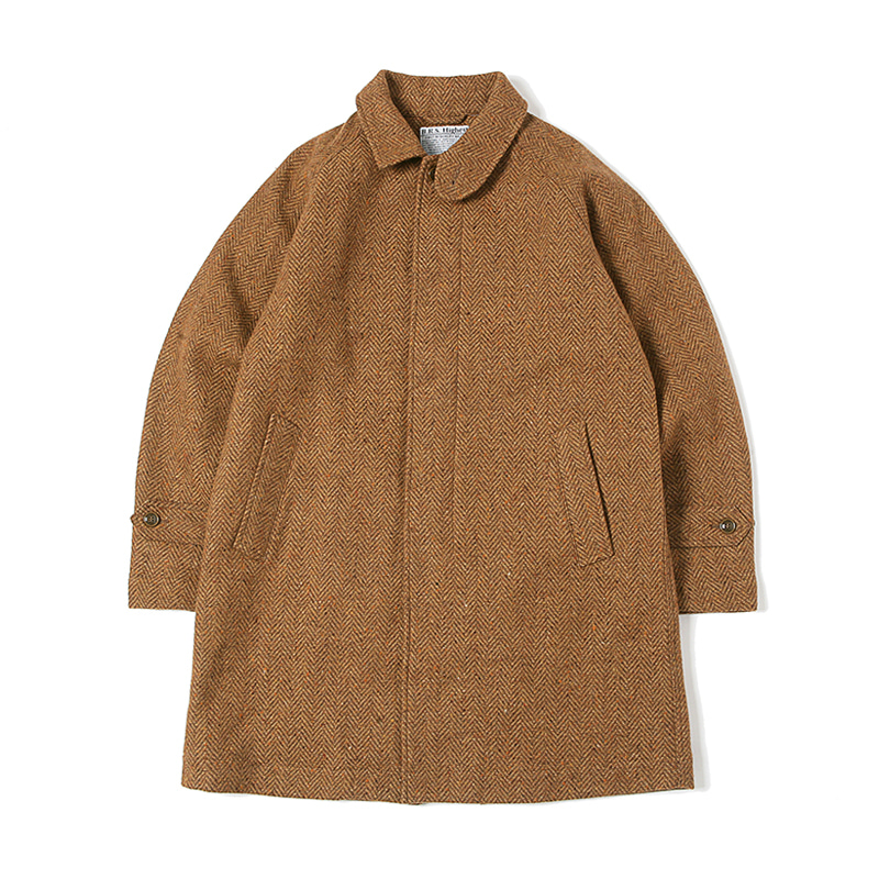 HIGHEST WOOL HERRINGBONE COAT - BROWN
