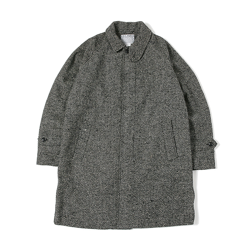 HIGHEST WOOL HERRINGBONE COAT - BLACK