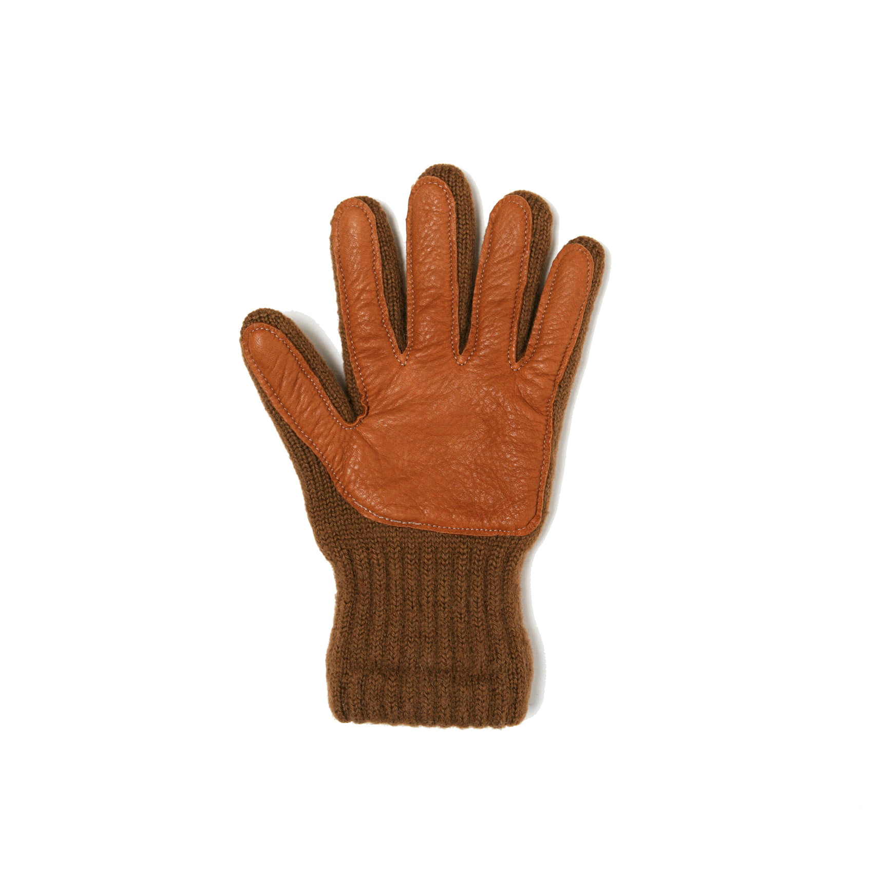 WOOL GLOVES DEERSKIN PALM - OLIVE