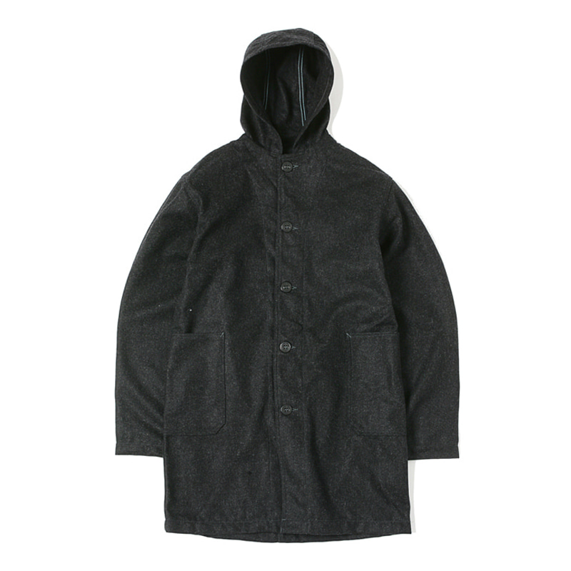 WOOL MELTON  COAT - CHARCOAL