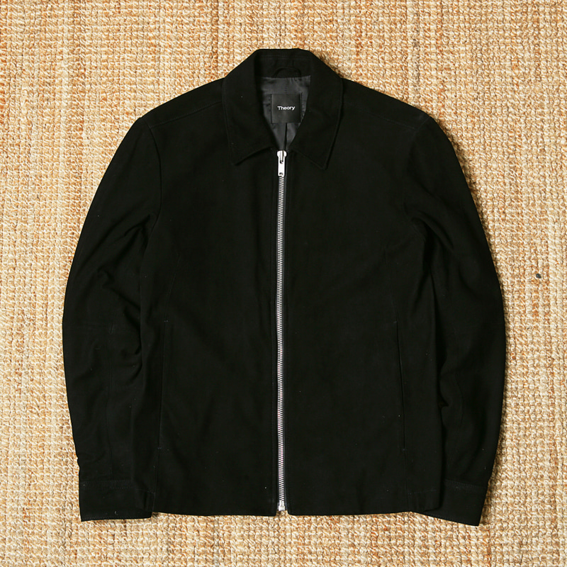 THEORY GOAT SUEDE BLOUSON - BLACK