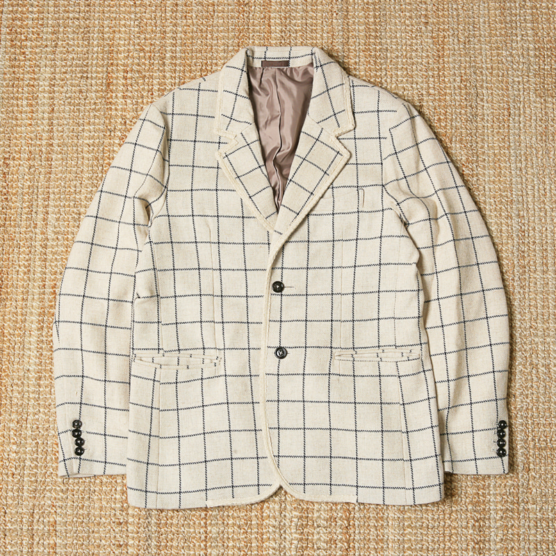 BANTS TWEED WOOL CHECK SINGLE JACKET