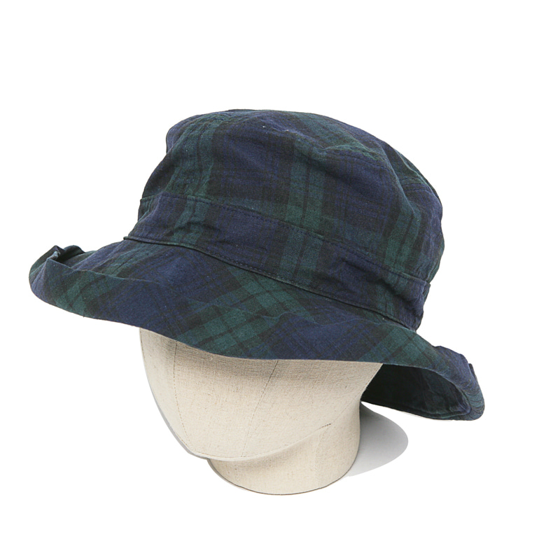 LINEN COTTON HAT - BLACK WATCH