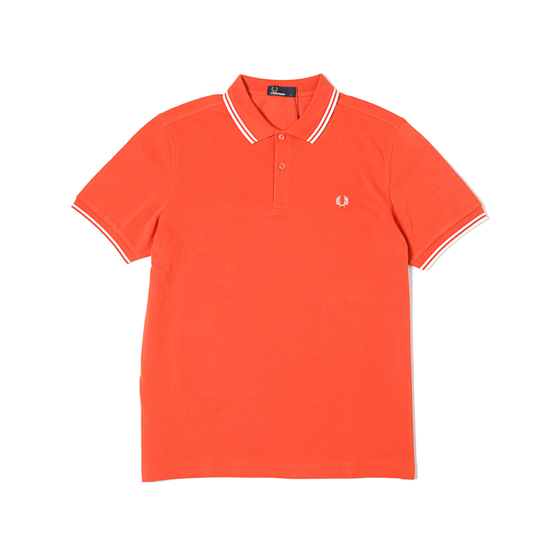 TWIN TIPPED FRED PERRY SHIRTS - PEACH RED