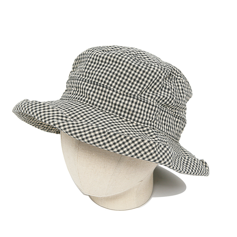 LINEN COTTON HAT - GLEN CHECK