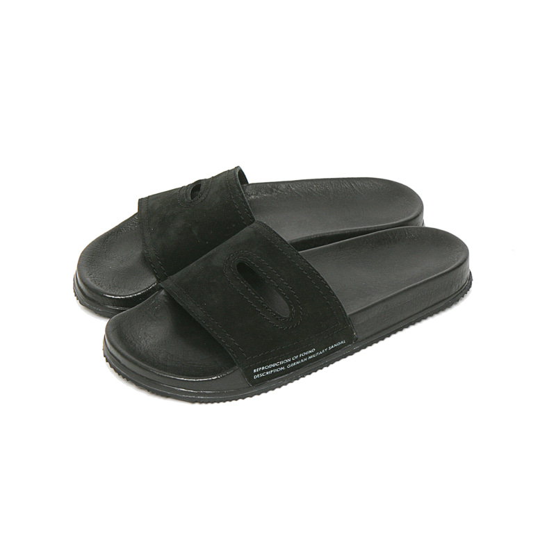 GERMAN MILITARY SANDAL - BLACK SUEDE