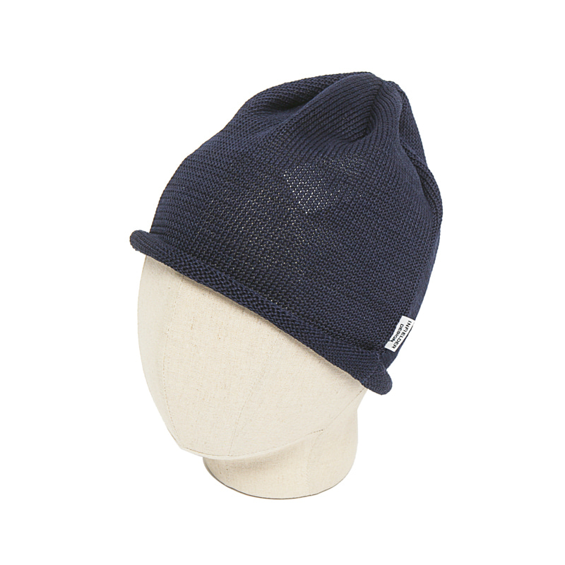 STRAW ROLL KNIT CAP - NAVY