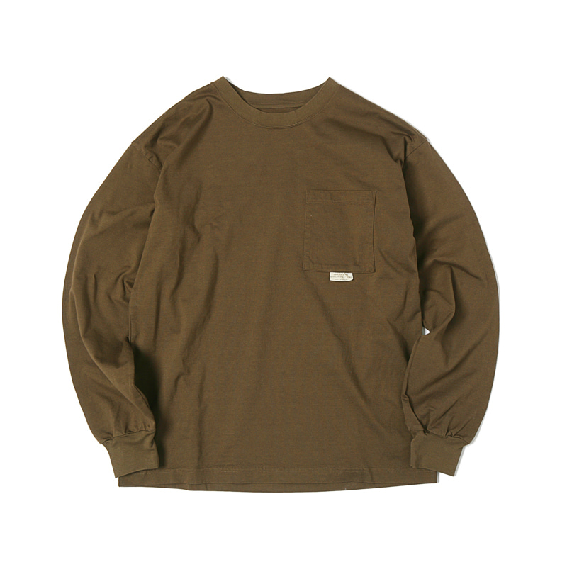 HIGHEST L/S POCKET TEE - BROWN