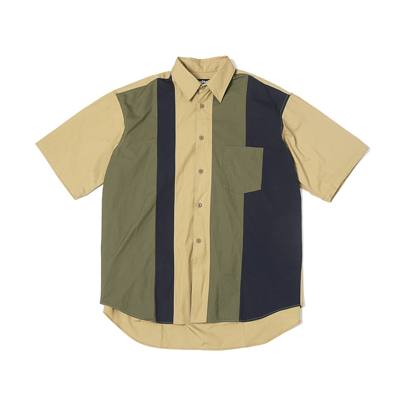 HALF SLEEVE PANELED SHIRTS - VANCLOTH OXFORD KHAKI/OLIVE/NAVY