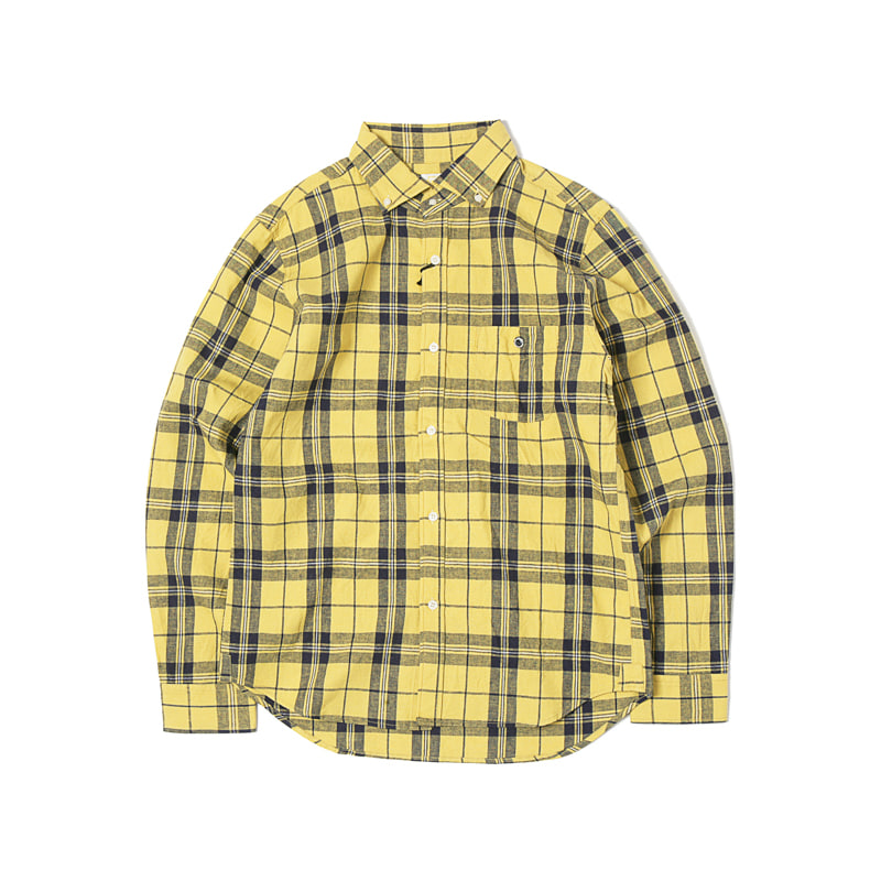 COTTON/LINEN BUTTON DOWN SHIRTS - YELLOW