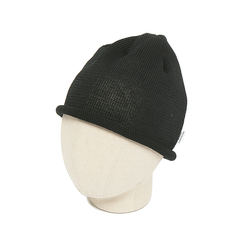 STRAW ROLL KNIT CAP - BLACK
