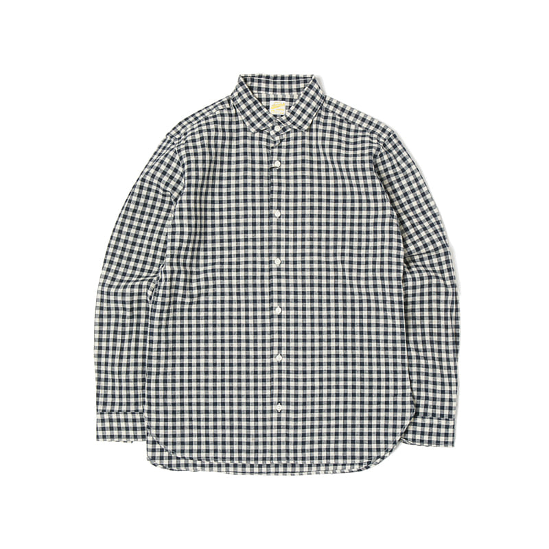 GINGHAM CHECK SPREAD COLLAR SHIRTS - NAVY