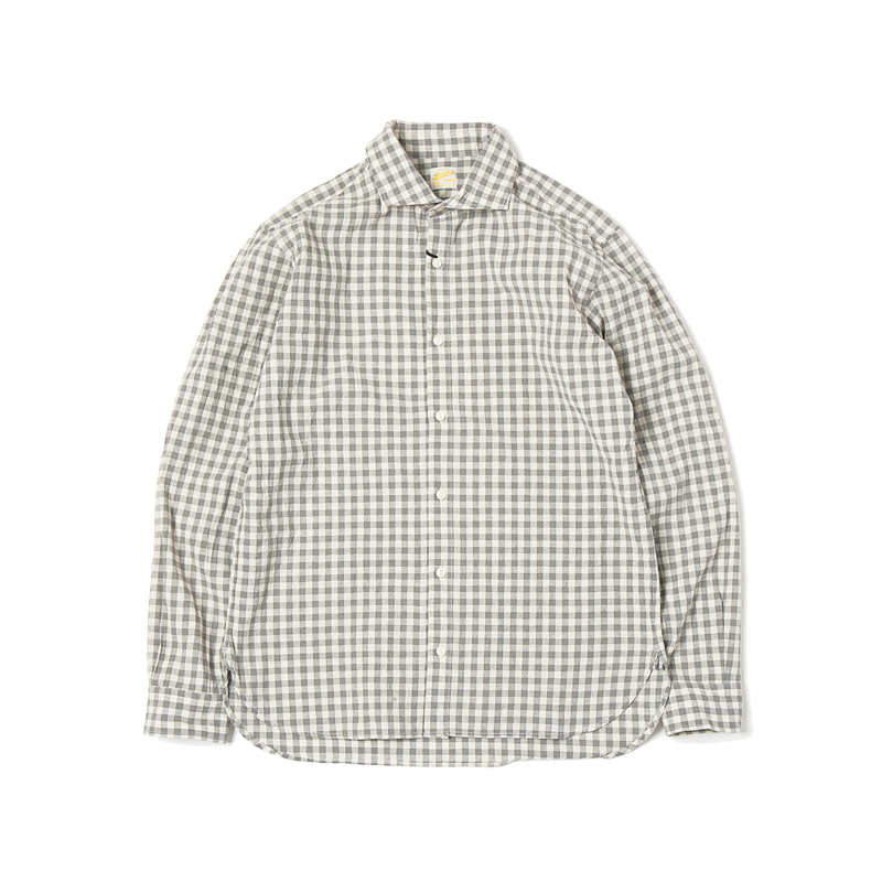 GINGHAM CHECK SPREAD COLLAR SHIRTS - GREY
