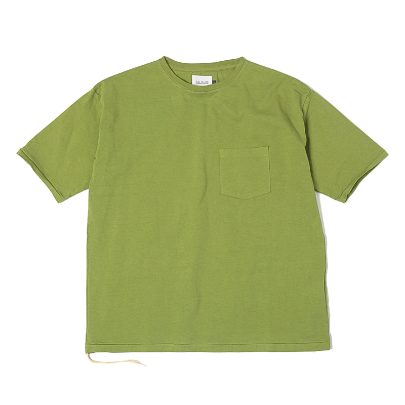 SOLID COLOR POCKET TEE  - OLIVE