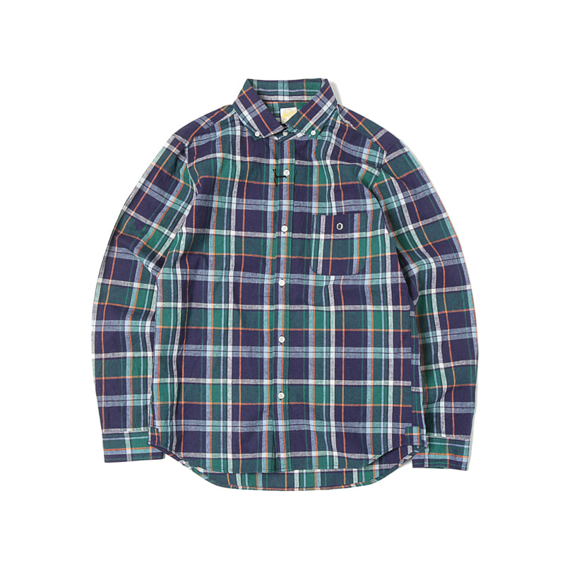 COTTON/LINEN BUTTON DOWN SHIRTS - GREEN