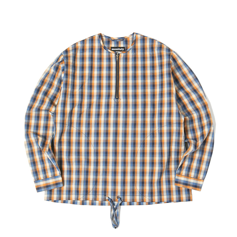 L/S ZIP NECK PULLOVER - VANCLOTH OXFORD PLAID