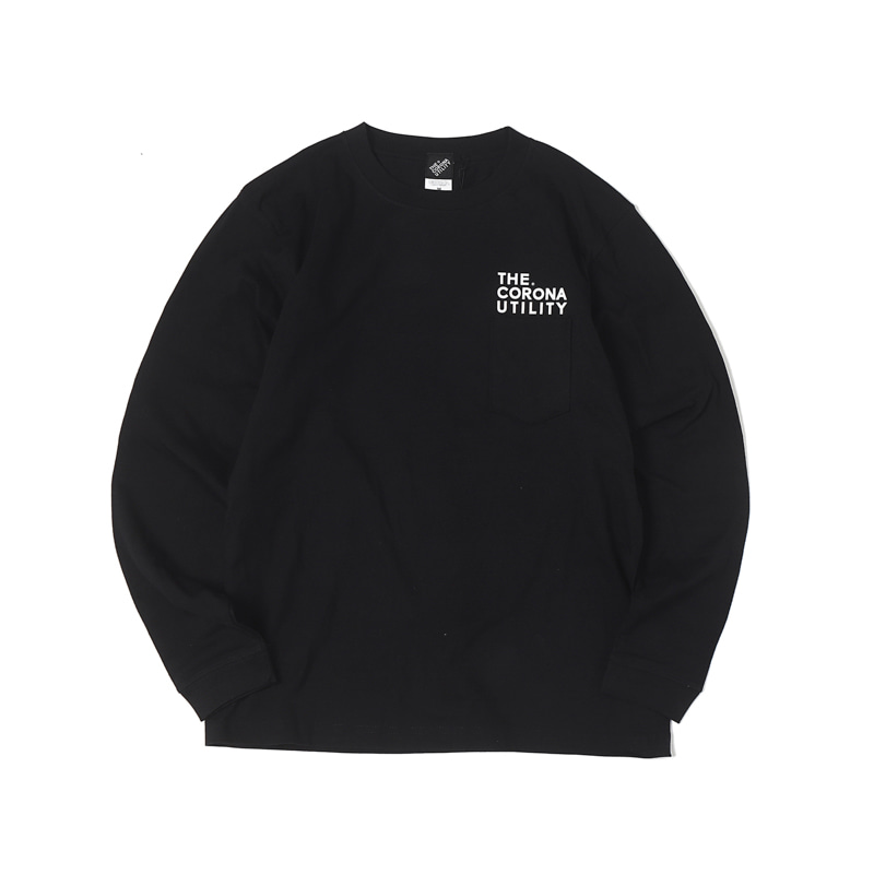 L/S POCKET TEE - BLACK PRINTED