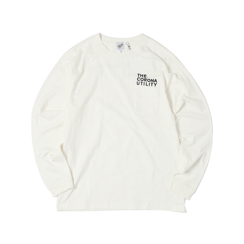 L/S POCKET TEE - WHITE PRINTED