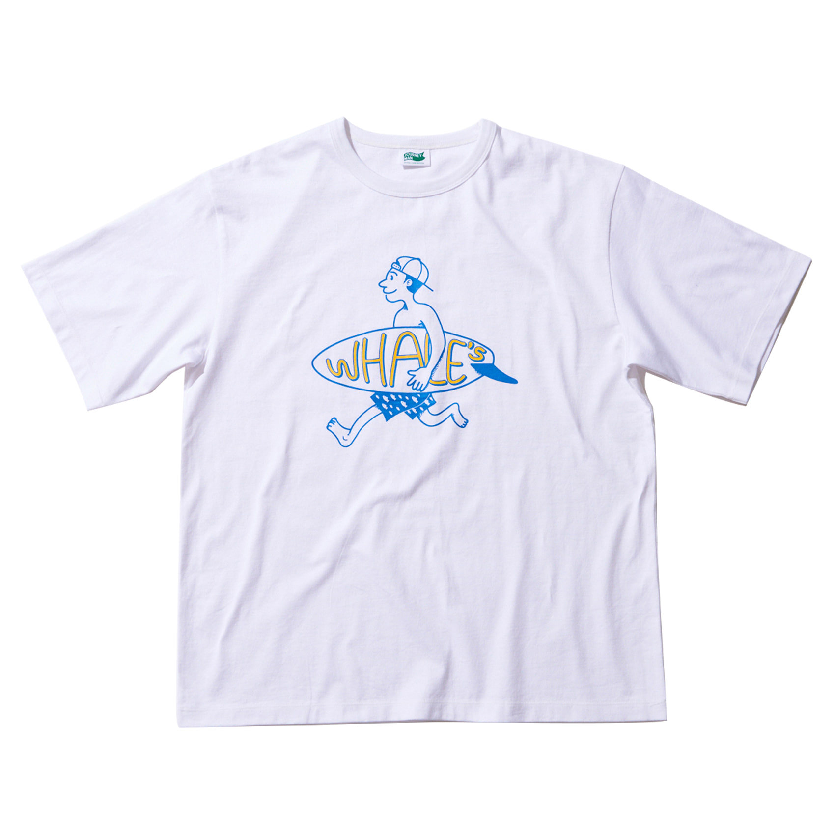 WHALES SURFERMAN2 T SHIRT - WHITE