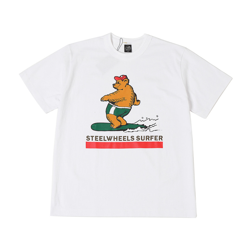 SURF BEAR2 T SHIRT - WHITE