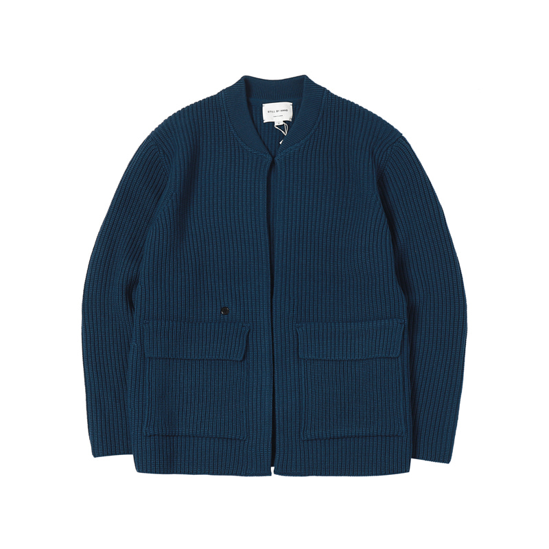 1 BUTTON KNIT BLOUSON - BLUE