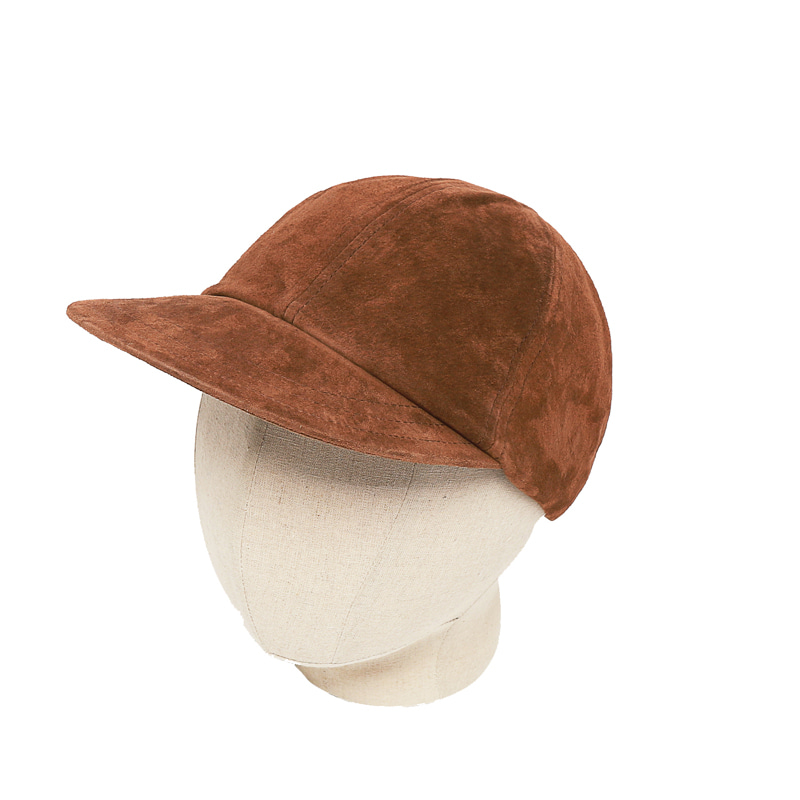 LEATHER FATIGUE CAP - BROWN