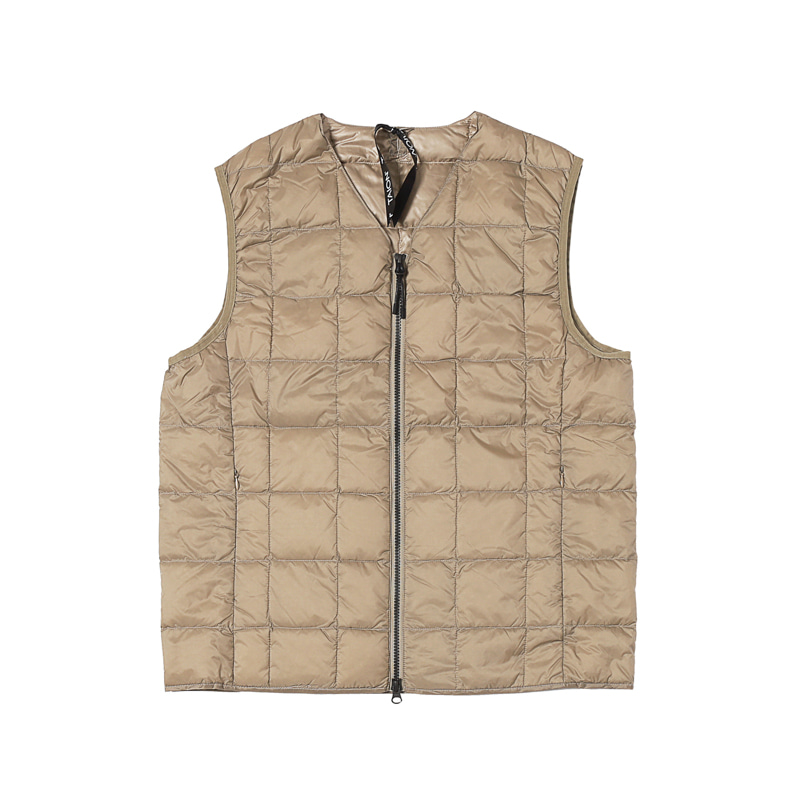 V NECK W-ZIP DOWN VEST - KHAKI