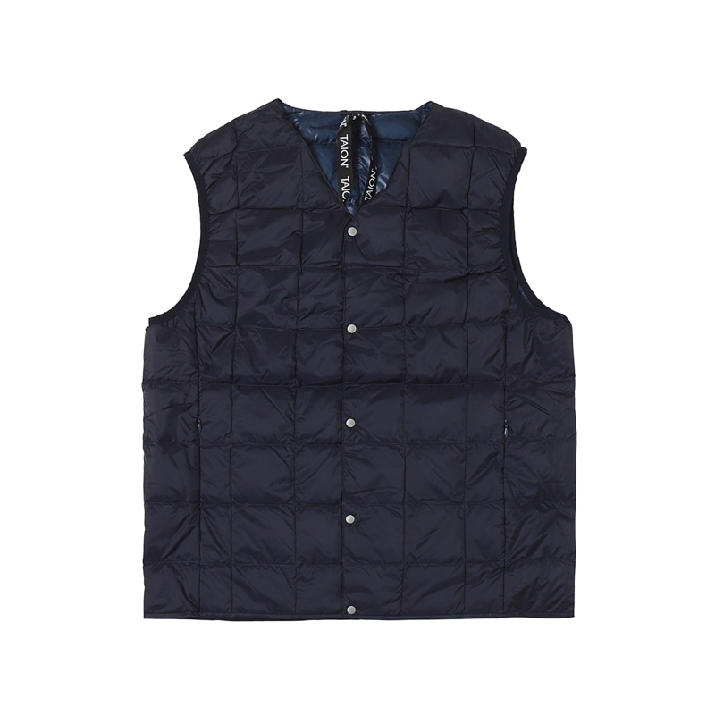 V NECK BUTTON DOWN VEST - NAVY